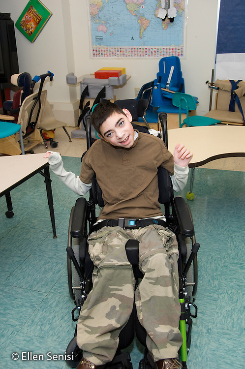 MR / Albany, NY.Langan School at Center for Disability Services .Ungraded private school which serves individuals with multiple disabilities.Portrait of child sitting in a wheelchair. Boy: 11, cerebral palsy, expressive and receptive language delays.MR: Bro12.© Ellen B. Senisi
