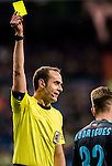 Referee Mario Melero Lopez shows a yellow card during their La Liga match between Real Madrid and Real Sociedad at the Santiago Bernabeu Stadium on 29 January 2017 in Madrid, Spain. Photo by Diego Gonzalez Souto / Power Sport Images