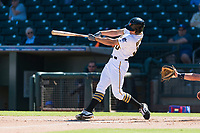 Surprise Saguaros left fielder Bryan Reynolds (10), of the Pittsburgh Pirates organization, swings at a pitch during an Arizona Fall League game against the Peoria Javelinas at Surprise Stadium on October 17, 2018 in Surprise, Arizona. (Zachary Lucy/Four Seam Images)