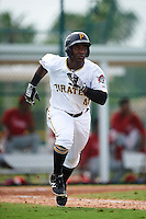 GCL Pirates center fielder Yondry Contreras (41) runs to first during a game against the GCL Phillies on August 6, 2016 at Pirate City in Bradenton, Florida.  GCL Phillies defeated the GCL Pirates 4-1.  (Mike Janes/Four Seam Images)