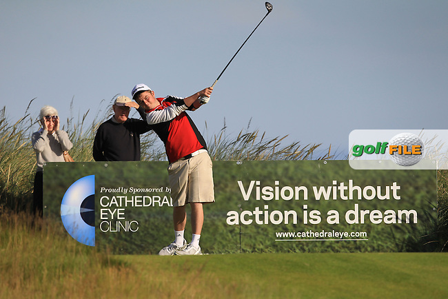 Owen Crooks (Bushfoot) on the 1st tee during Round 3 of Matchplay in the North of Ireland Amateur Open Championship at Portrush Golf Club, Portrush on Thursday 14th July 2016.<br /> Picture:  Thos Caffrey / www.golffile.ie