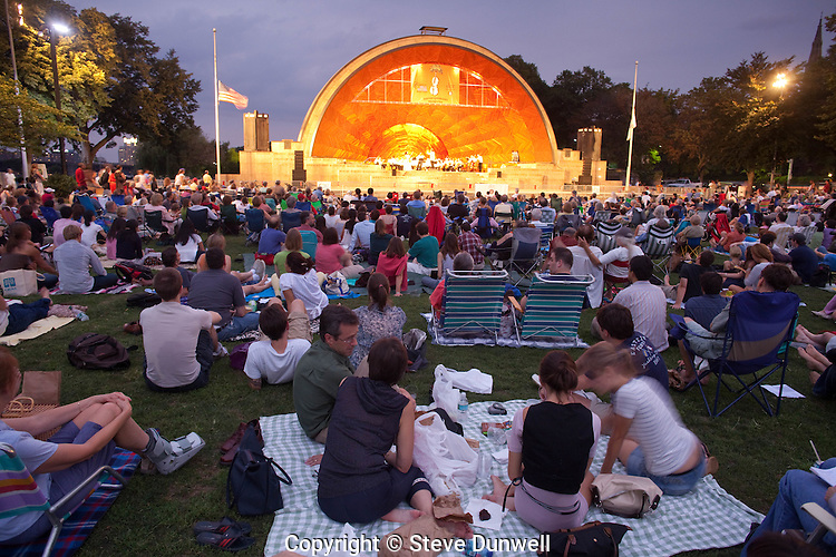 Landmarks Orchestra at Hatch Shell, Boston, MA (Hobart Earle conducting) summer evening on the Esplanade