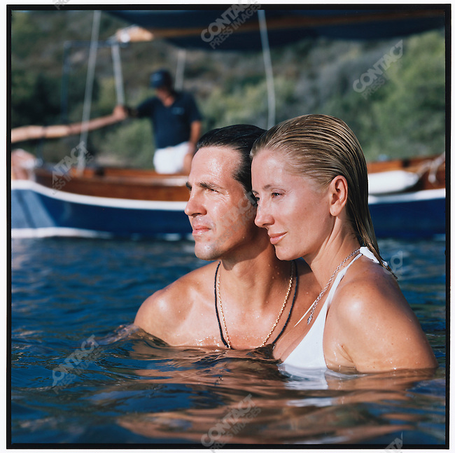 Prince Pavlos, the Crown Prince of Greece, and his wife, Princess Marie-Chantal, photographed while on vacation at private beach in Porto Heli. Greece, August 2007.