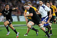 New Zealand's Sam Cane trybound against Australia in the Bledisloe Cup rugby match, Forsyth Barr Stadium, Dunedin, New Zealand, Saturday, October 19, 2013. Credit:SNPA / Dianne Manson.