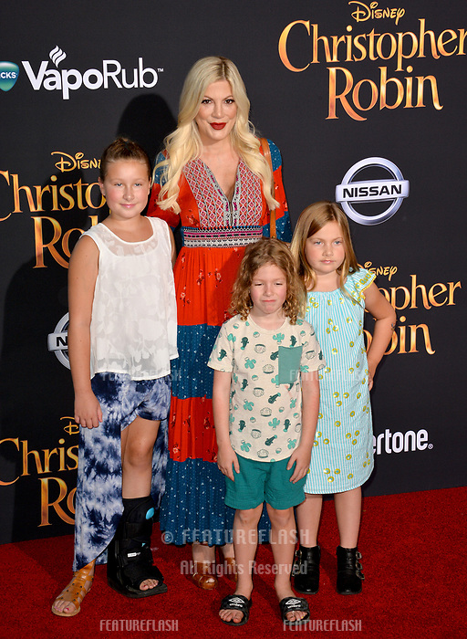 Tori Spelling &amp; Children at the world premiere of Disney's &quot;Christopher Robin&quot; at Walt Disney Studios, Burbank, USA 30 July 2018<br /> Picture: Paul Smith/Featureflash/SilverHub 0208 004 5359 sales@silverhubmedia.com
