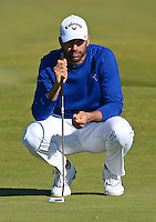 Alvaro Quiros of Spain lines up a putt during Round 1 of the 2015 Alfred Dunhill Links Championship at the Old Course, St Andrews, in Fife, Scotland on 1/10/15.<br /> Picture: Richard Martin-Roberts | Golffile