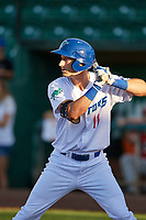 Mitchell Hansen (11) of the Ogden Raptors bats against the Orem Owlz at Lindquist Field on September 10, 2017 in Ogden, Utah. Ogden defeated Orem 9-4. (Stephen Smith/Four Seam Images)