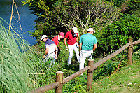 Brett Rumford (AUS) Francesco Molinari (ITA) crossing the fence to find a ball on the 16th during the 3rd round at the WGC HSBC Champions 2018, Sheshan Golf CLub, Shanghai, China. 27/10/2018.<br /> Picture Fran Caffrey / Golffile.ie<br /> <br /> All photo usage must carry mandatory copyright credit (&copy; Golffile | Fran Caffrey)
