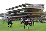 LONGCHAMP, FRANCE - October 06, 2018: View at the renovated Grandstand of the Longchamp race track, now officially called ParisLongchamp, which reopened in April 2018