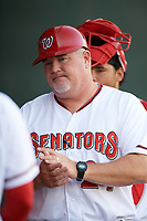 Harrisburg Senators manager Matthew LeCroy (24) during a game against the Bowie Baysox on May 16, 2017 at FNB Field in Harrisburg, Pennsylvania.  Bowie defeated Harrisburg 6-4.  (Mike Janes/Four Seam Images)