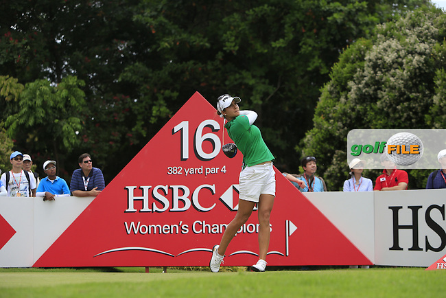 Azahara Munoz (ESP) on the 16th tee during Round 3 of the HSBC Women's Champions at the Sentosa Golf Club, The Serapong Course in Singapore on Saturday 7th March 2015.<br /> Picture:  Thos Caffrey / www.golffile.ie