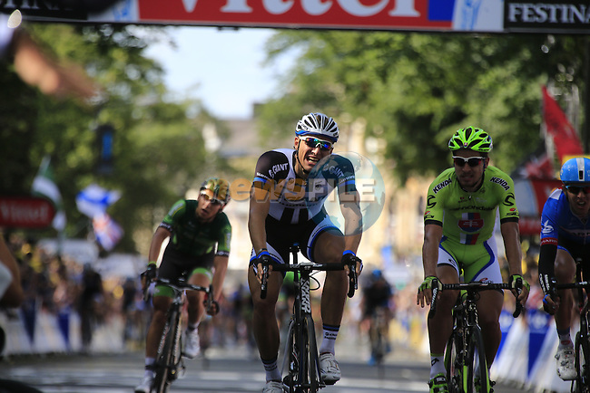 Marcel Kittel (GER) Team Giant-Shimano out sprints Peter Sagan (SVK) Cannondale and Ramunas Navardauskas (LTU) Garmin-Sharp to the finish line of Stage 1 of the 2014 Tour de France running 190.5km from Leeds to Harrogate. 5th July 2014.<br /> Picture: Eoin Clarke www.newsfile.ie