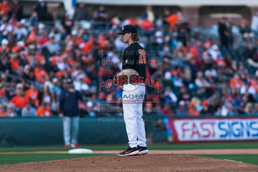 Oregon State Beavers starting pitcher Bryce Fehmel (26) prepares to deliver a pitch during a game against the Gonzaga Bulldogs on February 16, 2019 at Surprise Stadium in Surprise, Arizona. Oregon State defeated Gonzaga 9-3. (Zachary Lucy/Four Seam Images)