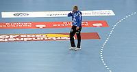 HC Leipzig : DVSC Korvex - Handball Damen Women Champions League - .Nach einem souveränen 31:25 Erfolg gegen den ungarischen Vize-Meister DVSC Korvex vor 2.747 Zuschauern in der Leipziger ARENA - im Bild: HCL Torfrau Katja Schülke allein auf dem Parkett. Porträt.   Foto: Norman Rembarz.