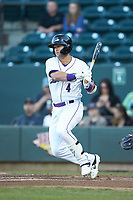 Tate Blackman (4) of the Winston-Salem Dash follows through on his swing against the Wilmington Blue Rocks at BB&T Ballpark on April 16, 2019 in Winston-Salem, North Carolina. The Blue Rocks defeated the Dash 4-3. (Brian Westerholt/Four Seam Images)