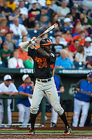 Jacob Heyward (24) of the Miami Hurricanes bats during a game between the Miami Hurricanes and Florida Gators at TD Ameritrade Park on June 13, 2015 in Omaha, Nebraska. (Brace Hemmelgarn/Four Seam Images)