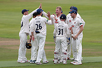 Simon Harmer of Essex celebrates with his team mates after taking the wicket of Dominic Sibley during Warwickshire CCC vs Essex CCC, Specsavers County Championship Division 1 Cricket at Edgbaston Stadium on 10th September 2019