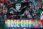 19 June 2015: Portland's supporters group the Rose City Riveters. The Portland Thorns FC hosted FC Kansas City at Providence Park in Portland, Oregon in a National Women's Soccer League 2015 regular season match. The game ended in a 1-1 tie.