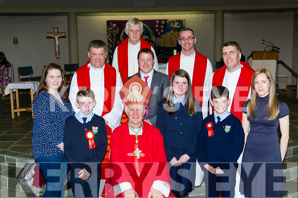 Tiernaboul NS pupils with Bishop Ray Browne Fr Kieran O'Brien, Fr Niall Howard, Fr Paddy O'Donoghue, Fr Niall Geaney and Fr Jim Linehan, Conor Glesson  Principal and teacher Mr Horgan at their Confirmation in Church of the Ressurection on Friday l-r: Kody Coffey, Fiona O'Leary Cathal Kelly, Katie Murphy and Kelly Mannix