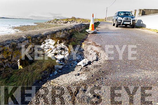 Road subsidence on the road to the Tralee Golf Club in Barrow on Monday.