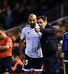Valencia's  coach Gary Neville and Aymen Abdennour during La Liga match. January 3, 2016. (ALTERPHOTOS/Javier Comos)