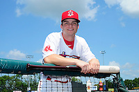 Lowell Spinners outfielder Andrew Benintendi (17) poses for a photo prior to a game versus the Tri-City ValleyCats at Lelacheur Park on August 16, 2015 in Lowell Massacusetts. (Ken Babbitt/Four Seam Images)