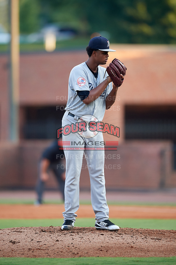 Pulaski Yankees starting pitcher Pedro Espinola (54) looks in for the sign during a game against the Greeneville Reds on July 27, 2018 at Pioneer Park in Tusculum, Tennessee.  Greeneville defeated Pulaski 3-2.  (Mike Janes/Four Seam Images)