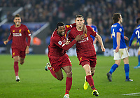 26th December 2019; King Power Stadium, Leicester, Midlands, England; English Premier League Football, Leicester City versus Liverpool; James Milner of Liverpool celebrates with his team after scoring a penalty in the 71st minute - Strictly Editorial Use Only. No use with unauthorized audio, video, data, fixture lists, club/league logos or 'live' services. Online in-match use limited to 120 images, no video emulation. No use in betting, games or single club/league/player publications