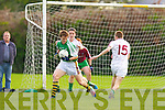St Brendan's Paudie Carroll looks to turn South Kerry Conor O'Leary and Darren O'Sullivan during the Minor football championship semi final in Beaufort on Thursday evening
