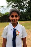 Portrait of school girl, Polonnaruwa, North Central Province, Sri Lanka, Asia