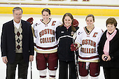 Tom Peters, Katelyn Kurth (BC - 14), Katie King (BC - Head Coach) and  Kelli Stack (BC - 16) along with Kathy Wynters and Molly Schaus (not pictured) joined Pauline Alighieri at center ice. Alighieri is the executive director of Friends of Mel Foundation, the beneficiary of Hockey East's Skating Strides fundraisers. - The Boston College Eagles defeated the visiting Northeastern University Huskies 2-1 on Sunday, January 30, 2011, at Conte Forum in Chestnut Hill, Massachusetts.