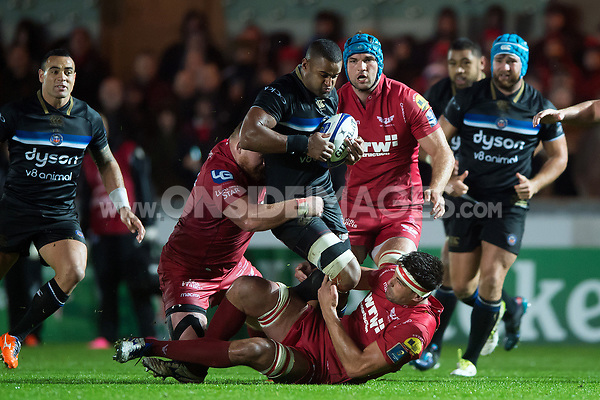Aled Brew of Bath Rugby takes on the Scarlets defence. European Rugby Champions Cup match, between the Scarlets and Bath Rugby on October 20, 2017 at Parc y Scarlets in Llanelli, Wales. Photo by: Patrick Khachfe / Onside Images