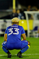 AFC Wimbledon's Lyle Taylor reflects on his missed penalty during the Sky Bet League 1 match between AFC Wimbledon and MK Dons at the Cherry Red Records Stadium, Kingston, England on 22 September 2017. Photo by Carlton Myrie / PRiME Media Images.