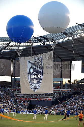 Jul 31, 2013; Kansas City, KS, USA; All Star Game banner is raised in the air with balloons beforethe 2013 MLS All Star Game at Sporting Park. Mandatory Credit: Denny Medley-USA TODAY Sports