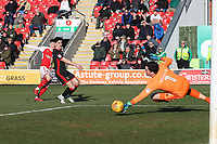 Ashley Hunter of Fleetwood Town (left) sees his shot saved by Lee Nicholls of MK Dons during the Sky Bet League 1 match between Fleetwood Town and MK Dons at Highbury Stadium, Fleetwood, England on 24 February 2018. Photo by David Horn / PRiME Media Images