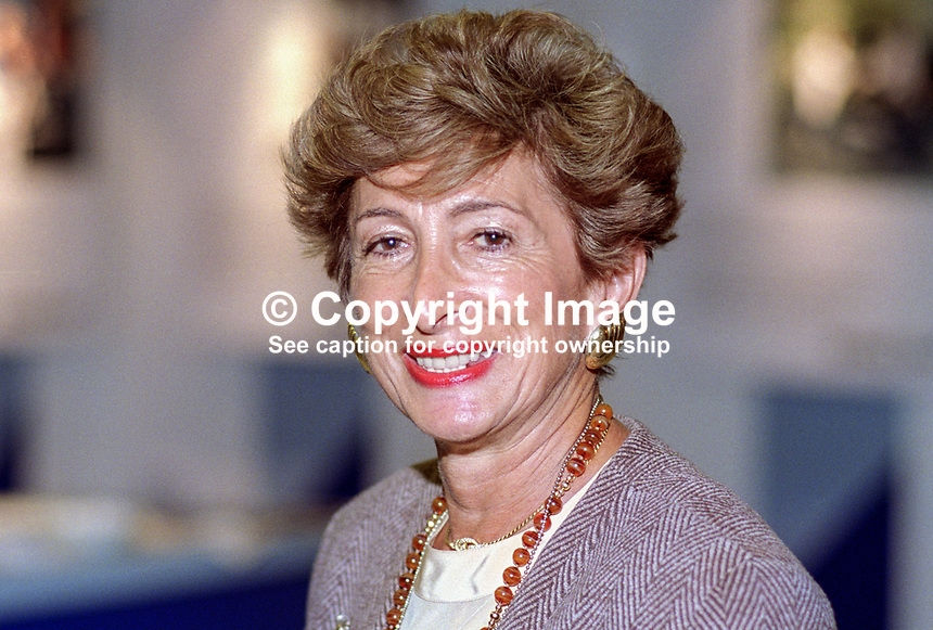Dame Shirley Porter, aka Lady Porter, prominent member, Conservative Party, UK, daughter and heir of Sir Jack Cohen, founder, Tesco Supermarket. At various times Shirley Porter was Leader of Wesminster City Council, Lord Mayor of Westminster, and Dame of the British Empire. 19921054SP..Copyright Image from Victor Patterson, 54 Dorchester Park, Belfast, UK, BT9 6RJ..Tel: +44 28 9066 1296.Mob: +44 7802 353836.Voicemail +44 20 8816 7153.Skype: victorpattersonbelfast.Email: victorpatterson@me.com.Email: victorpatterson@ireland.com (back-up)..IMPORTANT: If you wish to use this image or any other of my images please go to www.victorpatterson.com and click on the Terms & Conditions. Then contact me by email or phone with the reference number(s) of the image(s) concerned.