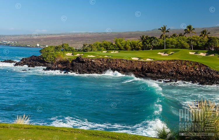Mauna Kea Beach Hotel's first-class oceanfront golf course on a clear day, North Kohala, Big Island.