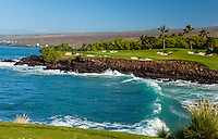 Mauna Kea Beach Hotel's first-class oceanfront golf course on a clear day, North Kohala, Big Island.