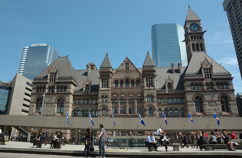 A beautiful warm spring day, Toronto's Nathan Philips Square looking across to Old City Hall