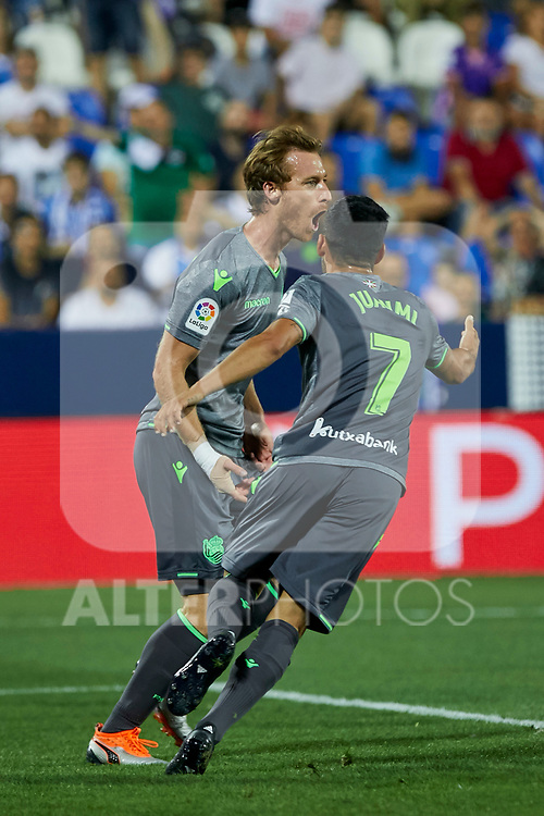 Real Sociedad's David Zurutuza (l) and Juan Miguel Jimenez (r) celebrate goal during La Liga match. August 24, 2018. (ALTERPHOTOS/A. Perez Meca)