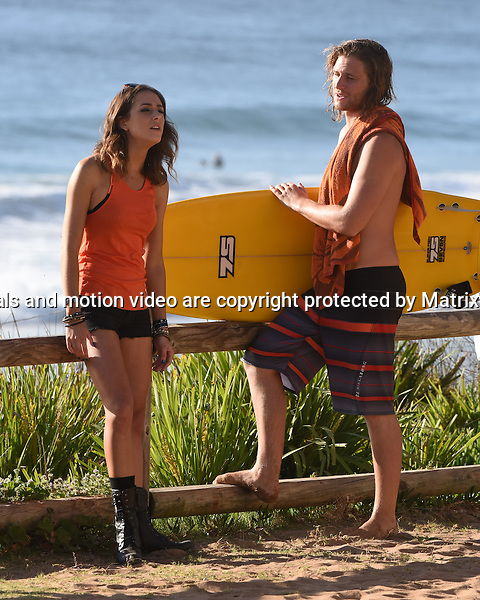 28th October, 2014 SYDNEY AUSTRALIA<br /> EXCLUSIVE <br /> Pictured, George Mason, Isabella Giovinazzo, Bonnie Sveen, Pia Miller, Shane Whittington, Johnny Ruffo  and ? new girl cast member of Home and Away doing scenes at the North Palm Beach Surf Club, Palm Beach, NSW. <br /> <br /> *No internet without clearance*.MUST CALL PRIOR TO USE +61 2 9211-1088. Matrix Media Group.Note: All editorial images subject to the following: For editorial use only. Additional clearance required for commercial, wireless, internet or promotional use.Images may not be altered or modified. Matrix Media Group makes no representations or warranties regarding names, trademarks or logos appearing in the images.