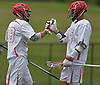 Mike Gomez #29 of Hills East, left, gets congratulated by teammate Sean Lulley #33 after drawing a penalty in the first quarter of the Suffolk County varsity boys lacrosse Division I (Class A) quarterfinals against Commack at Half Hollow Hills High School East on Friday, May 19, 2017. Gomez (2) and Lulley (3) combined for five goals in Hills East's 11-9 win.
