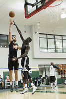 Thon Maker, 19, practices drills during the shoot around at the Milwaukee Bucks practice facility.