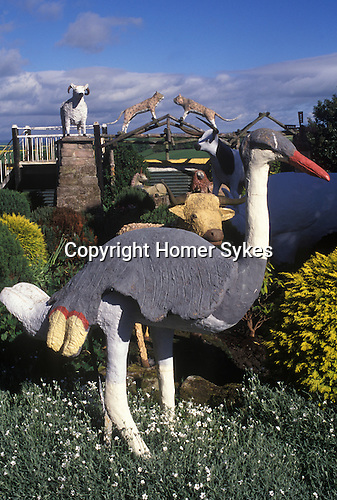 Cement garden menagerie.  Branxton, Northumberland. Made by John Fairnington for his disabled son  Edwin Fairnington's amusement.