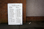 Whitehill Welfare 3 Gala Fairydean Rovers 0, 12/03/2016. Ferguson Park, Rosewell, Scottish Lowland League. A white board with the team line-ups at Ferguson Park, Rosewell, before Whitehill Welfare take on Gala Fairydean Rovers in a Scottish Lowland League fixture, which the home team won 3-0. The match was one of six arranged by the league and GroundhopUK over the weekend to accommodate groundhoppers, fans who attempt to visit as many football venues as possible. Around 100 fans in two coaches from England participated in the 2016 Lowland League Groundhop and they were joined by other individuals from across the UK which helped boost crowds at the six featured matches. Photo by Colin McPherson.
