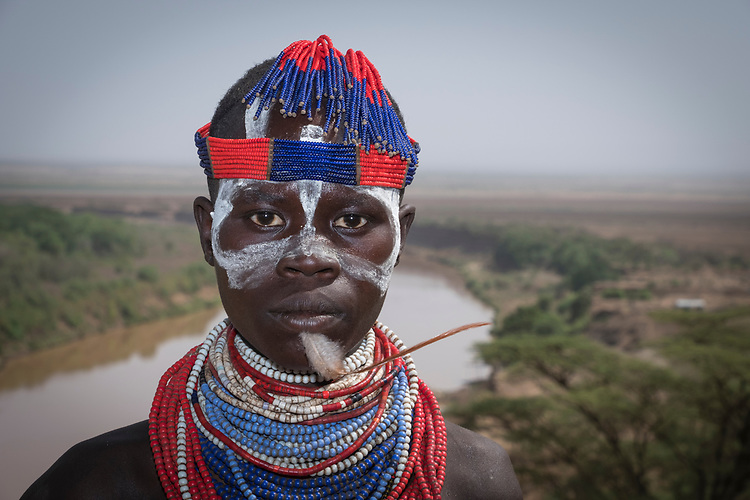 Well adorned man of Karo Tribe-village situated on the banks of the Omo River, Southern Nations, Ethiopia