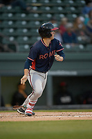 Catcher Logan Brown (99) of the Rome Braves bats in a game against the Greenville Drive on Friday, April 19, 2019, at Fluor Field at the West End in Greenville, South Carolina. Greenville won, 2-0. (Tom Priddy/Four Seam Images)