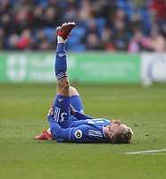 Cardiff City's Joe Bennett in need of attention<br /> <br /> Photographer Rob Newell/CameraSport<br /> <br /> The Premier League - Cardiff City v West Ham United - Saturday 9th March 2019 - Cardiff City Stadium, Cardiff<br /> <br /> World Copyright © 2019 CameraSport. All rights reserved. 43 Linden Ave. Countesthorpe. Leicester. England. LE8 5PG - Tel: +44 (0) 116 277 4147 - admin@camerasport.com - www.camerasport.com