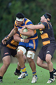 Mitchell Thackham and Coree Tewhata-Colley try to spot John Tangi. Counties Manukau Premier Club Rugby game between Patumahoe & Bombay, played at Patumahoe on Saturday June 18th 2016. Patumahoe won the game 27 - 15 after leading 9 - 3 at halftime. Photo by Richard Spranger.