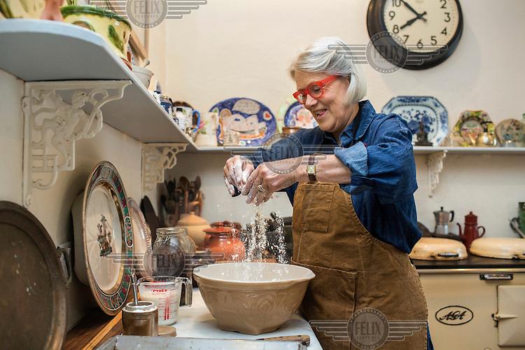 Irish chef and food writer Darina Allen prepares Spotted Dog, a traditional Irish soda bread, at the Ballymaloe Cookery School.
